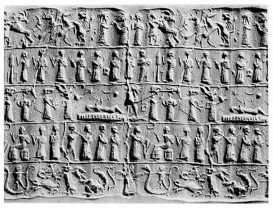 Cilindro asirio que representa un exorcismo